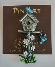 Spoontiques Pin Art Pewter Birdhouse Blue Bird Charm Flower House Brooch Pin