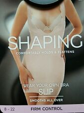 "NEW M&S ""WEAR YOUR OWN BRA"" SHAPING/SMOOTHING FIRM CONTROL SLIP 16 - ALMOND"