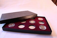 DISPLAY BOX FOR 12 COINS IN AIRTITE CAPSULE (HOLDER), MODEL A BURGUNDY