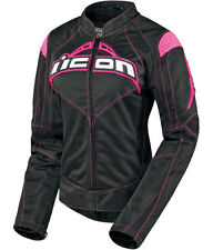 NEW ICON CONTRA JACKET MOTORCYCLE STREET BIKE CE ARMOR WOMENS BLACK PINK MEDIUM