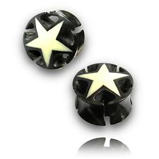 """PAIR OF INLAYED STAR 1"""" 1/16 INCH 28MM HORN PLUGS TUNNELS"""