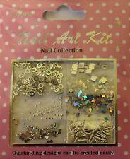 """""""Nail Art Kit 10"""" 3D Set Silber dekoration Ringe - Schleifen-  Folie - Steine"""
