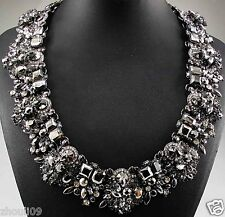 New Design huge Lady Statement crystal multi chunky chain charm  necklace 865