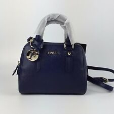 FURLA Navy Blue Elena Mini Leather Satchel CROSSBODYBAG LIGHT GOLD TONE HARDWARE