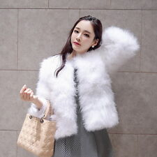 women's real genuine soft ostrich fur short jacket coat outerwear fashion L33