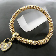 A657 GENUINE REAL 18K YELLOW G/F GOLD DIAMOND SIMULATED HEART BANGLE BRACELET