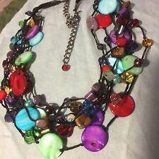 """Grandmas Estate Glass Stones Jewelry 18"""" Multi Colored Necklace Black (MIA)"""