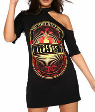 Womans Vintage Legends One Shoulder Born To Be Wild Long TShirt Dress Choker Top