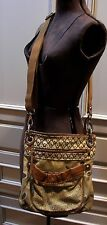Fossil Original Brand Canvas and Leather Cross Body Bag Purse Browns Yellow