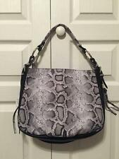 NWT Claudia Snake Print Satchel Black Grey Made in Italy Genuine Leather Suede