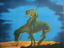 "American Indian Reaches ""End of the Trail"" Vintage Lithograph Night Scene Mint !"
