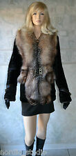 Genuine Crystal Fox and Black Mouton Fur Jacket, s 42-44 ( small)