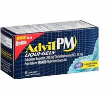Advil PM Pain Reliever/Nighttime Sleep Aid Liqui-Gels 40ct -FREE WORLDWIDE SHIP-