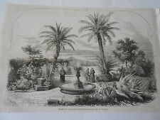 Italia Roma Jardin couvent St Bonaventure sur le Palatin Antique Old Print 1860