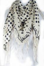 Dot with letter  print fringe 100% silk scarf, Valentino pattern, black color
