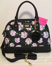 BETSEY JOHNSON DOME SATCHEL FLORAL ROSE BLACK LAVENDER CROSSBODY HAND BAG NWT