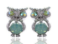 Silver Mini Pacific Opal Rhines Green Bodied Owl Fashion Button Earrings