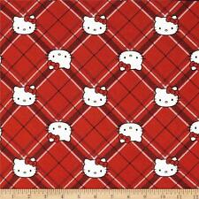 "NEW Hello Kitty Diamond Plaid Red 100% cotton 43""  fabric by the yard 36"""