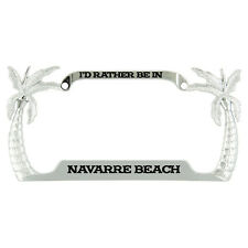 I'd Rather Be In Navarre Beach Palm Tree Metal License Plate Frame Tag Holder