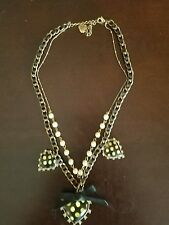 Betsey Johnson Vintage Black & Cream Lucite Polka Dot Heart Pearl Bow Necklace