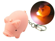 Pink Piggy Pig Keychain with LED Light and Sound