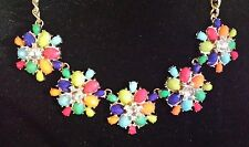 Lifestyle Studios Multi Color Flower Rhinestone Gold Tone Statement Necklace NWT