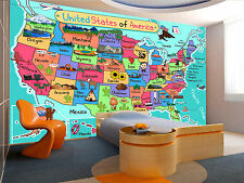 USA Map in Cartoon Style Wall Mural Photo Wallpaper GIANT WALL DECOR FREE GLUE