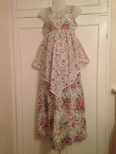 vintage 60's 70's mothercare maternity maxi floral apron smock dress 10 12 14