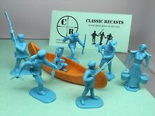 Marx Recast early American figures + canoe toy soldiers in light blue