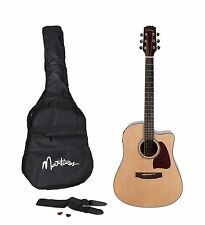 New Martinez Acoustic-Electric Dreadnought Cutaway Guitar Pack (Natural Gloss)