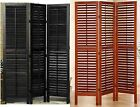 3 Panel Solid Wood Screen Room Divider, Full Length Shutters, Walnut or Espresso
