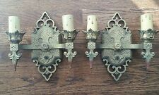 PAIR VINTAGE J.C.VIRDEN GOTHIC SPANISH MEDIEVAL POLYCHROME METAL WALL SCONCES.