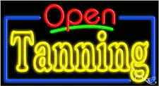 "NEW ""OPEN TANNING"" 37x20 BORDER REAL NEON SIGN W/CUSTOM OPTIONS 15581"