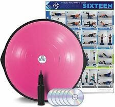Bosu Ball Home Balance Trainer Pink 65cm w/ 6 Workout DVD's Wall Chart & Pump