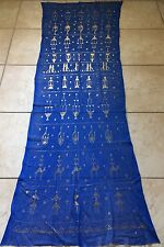 New Egyptian Assiut Assuit Tulle Scarf Shawl Belly Dance Hip Scarf Silver Strip