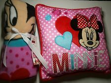 Disney Minnie Mouse Cushion Embroidered & Fleece Blanket • Gift Girls