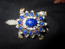 Huge EXQUISITE VTG KENNETH J LANE KJL LAPIS / CRYSTAL TURTLE  WATCH BROOCH PIN