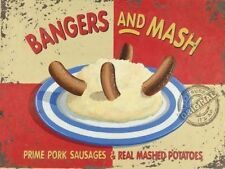 Bangers and Mash Sausages Potatoes Smash Kitchen Small Metal/Tin Sign