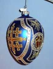 VINTAGE CHRISTMAS BEAUTIFUL EGG SHAPE ORNAMENT HAND PAINT POLAND CATHEDRAL EX.CO