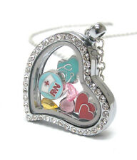 ORIGAMI-STYLE NURSE RN Hearts Crystal Floating Charm Heart Locket Necklace