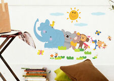 Cartoon world map Animals decals kids room Quote decor Wall sticker mural pvc UG