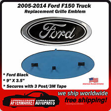 "2005-2014 Ford F150 Black Oval 9"" Front Grille Replacement Emblem Badge"