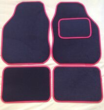 4 PIECE BLACK WITH RED TRIM CAR MATS FOR HYUNDAI COUPE AMICA TRAJET GETZ I10 120