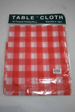 Lot of 24 White and Red checkered Plastic Party Picnic Table Cloths New