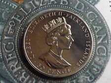 falklands 40th anniversary of reign proof 1992 50 pence crown coin