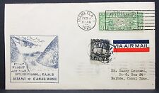US Airmail Cover Miami to Balboa Canal Zone 1929 Rate 27c Luftpost Brief (I-7235
