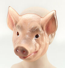 Plastic Pig animal face mask fancydress