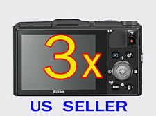 3x Nikon Coolpix S9700 Digital Camera Clear LCD Screen Protector Guard Shield