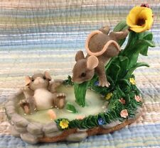 Charming Tails THE WATERSLIDE Tulip Pond Mice Ladybug Water Swim Flowers 87/384
