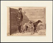 GREYHOUND MAN AND DOGS IN THE SLIPS COURSING DOG PRINT MOUNTED READY TO FRAME